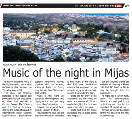 Music of the Night Mijas Stephen Lloyd Morgan
